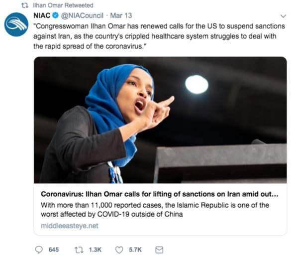 ifmat-Ilhan Omar is using the corona virus to bash America to the benefit of regime1