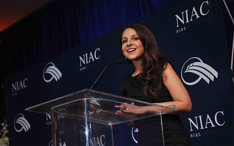 ifmat - Lily Sarafan took the floor at a NIAC meeting and delivered her pro-regime remarks