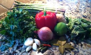 Vegetarian Thai Green Coconut Curry ingredients (before)