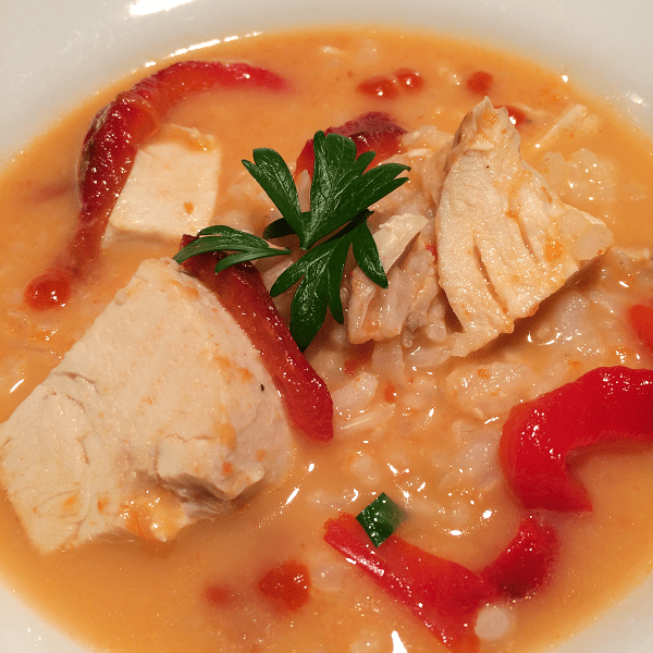 Roasted Red Pepper Soup with Chicken and Brown Rice