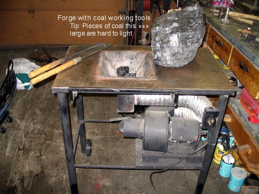 homemade coal forge on