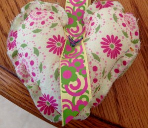 Pink Green Floral Heart