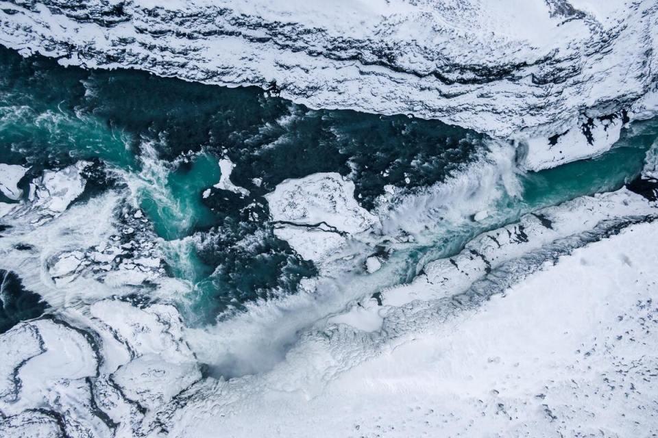 fiume Hvita islanda con cascata gullfoss