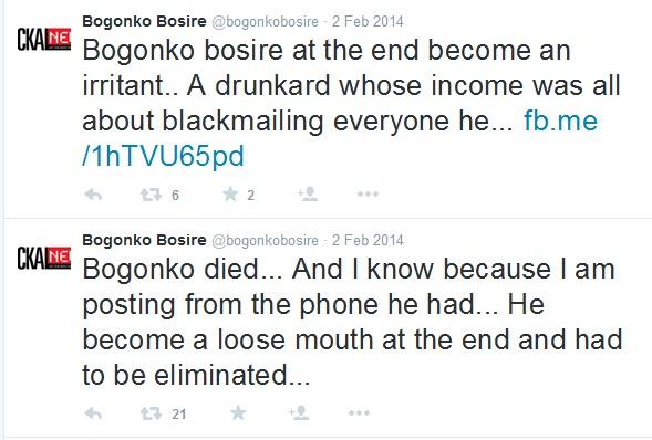 Bogonko Bosire Tweets