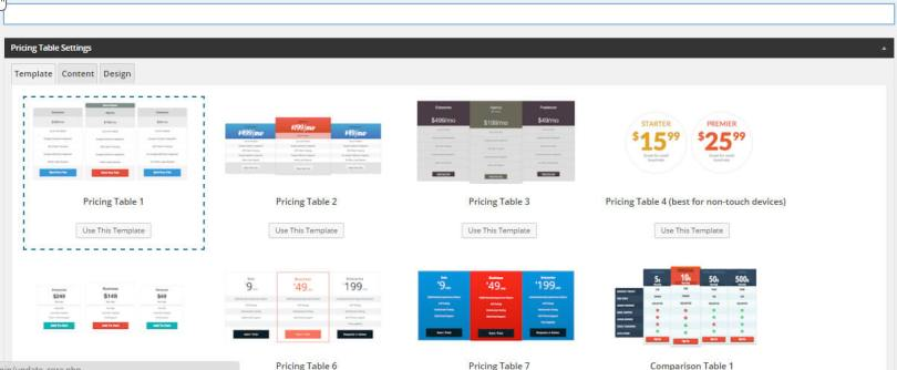 create easy pricing table