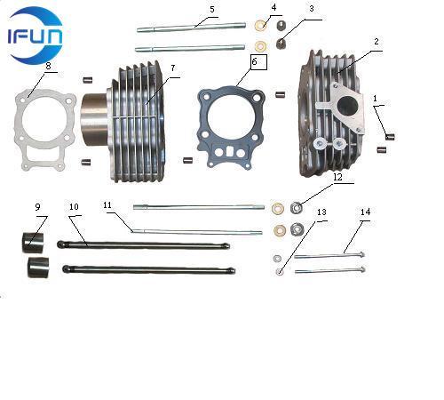 ODES 400CC ATV cylinder assembly,odes atv parts,odes utv