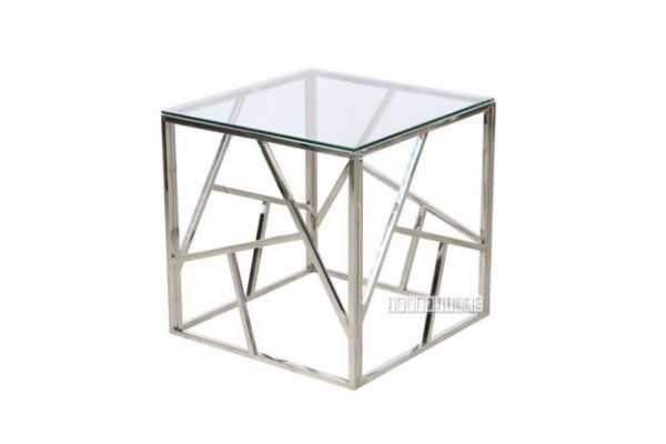 Lella Square Clear Glass Side Table * Silver
