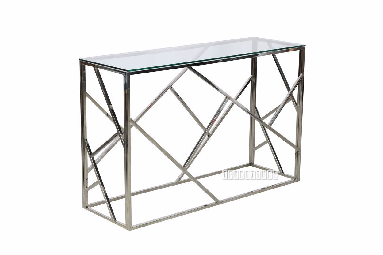 Lella Rectangle Clear Glass Hall Table * Silver