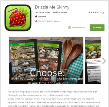 Drizzle Me Skinny app in the Google Play Store