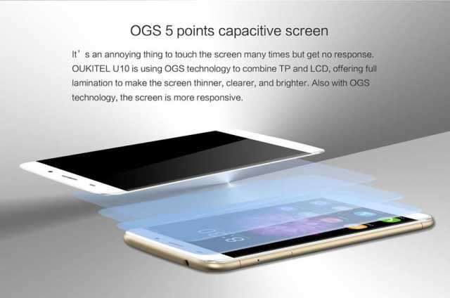 OukiTel U10 -5-point-OGS-technology
