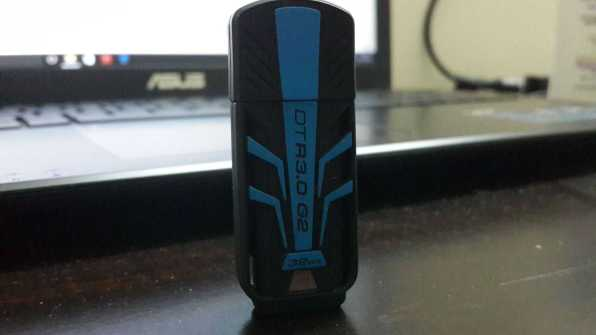 Kingston Datatraveler R3.0 G2 Review - Flash drive resting on notebook -1