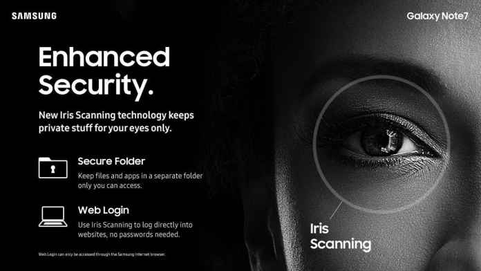 Samsung Galaxy Note 7 comes with IRIS Scanner