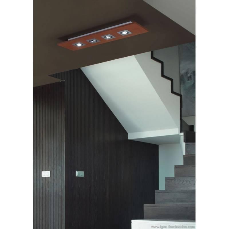 Plafn de techo Solar 4 luces LED GU10 madera  Brilliance