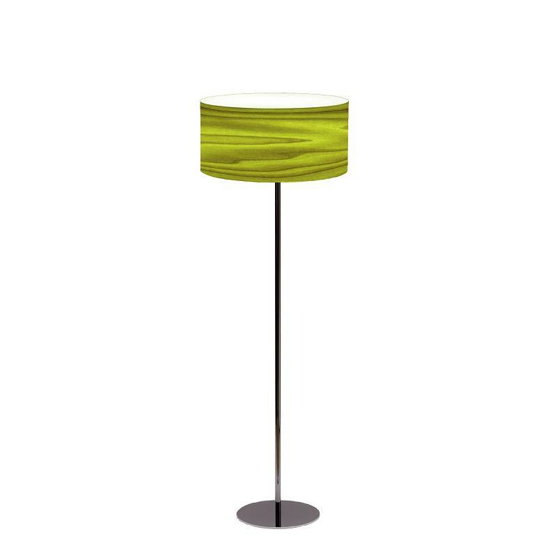 ICONO Drum 1L E27 green veneer floor lamp