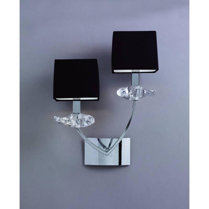 Aplique de pared Akira 2 luces pantallas tela negro  Mantra