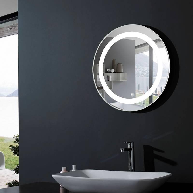 acb mauro 60cm led ip44 round bathroom mirror