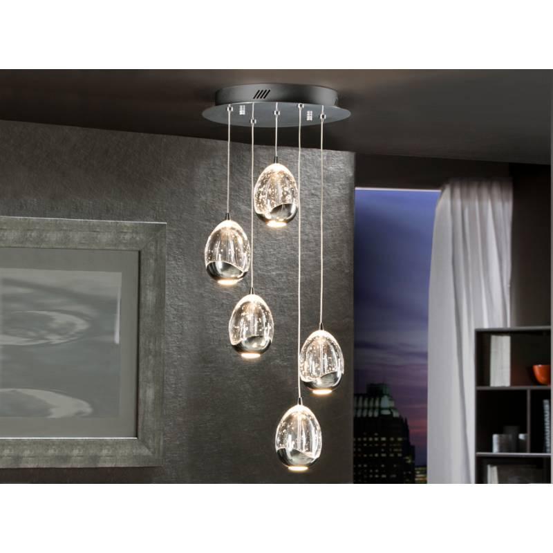 Lmpara colgante Rocio 5 luces LED cromo  Schuller