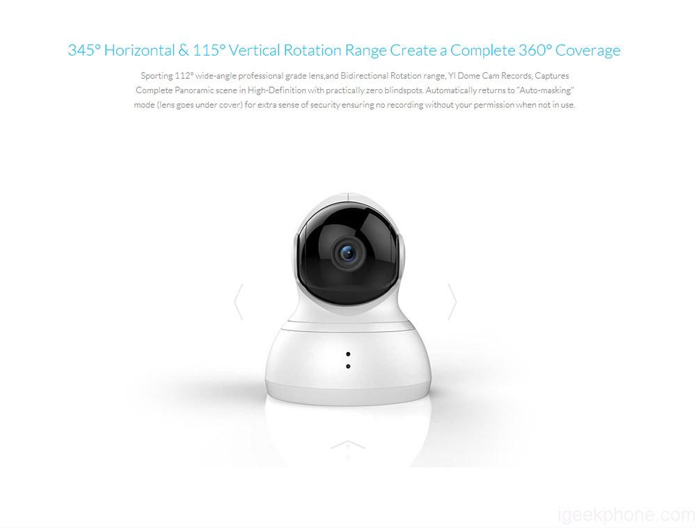 YI Dome Camera 720P HD Pan//Tilt//Zoom Wireless IP Security Surveillance System