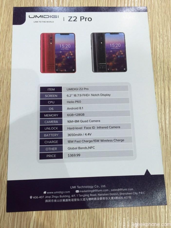 UMIDIG Z2 Pro Specs Sheet