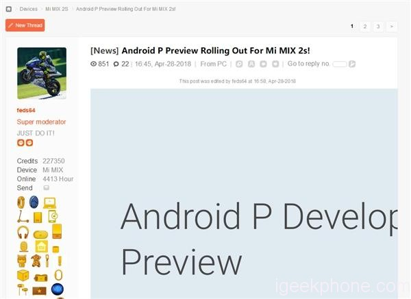 Xioami Mi MIX 2s Android P Preview 3