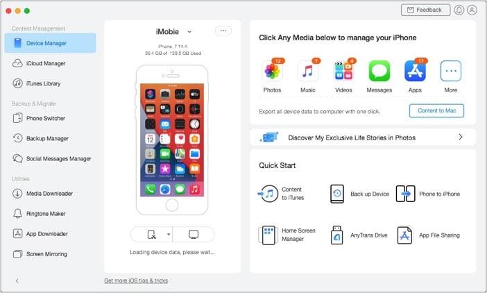 iMobie Anytrans iOS Альтернативный пользовательский интерфейс iTunes