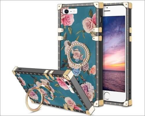 Чехол-держатель для колец HoneyAKE с цветочным рисунком для iPhone SE 2020