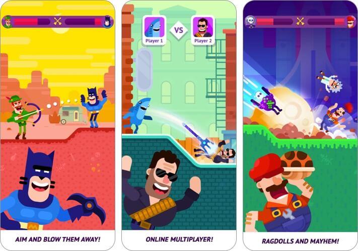 Bowmasters двое игроков iphone скриншот игры