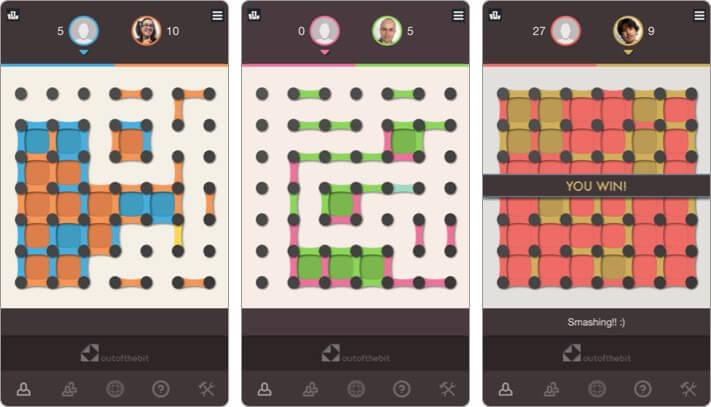 точки и квадраты скриншот игры для двух игроков iphone