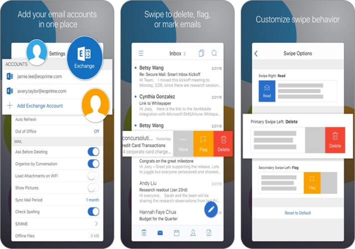Citrix Secure Mail iPhone и iPad скриншот приложения электронной почты