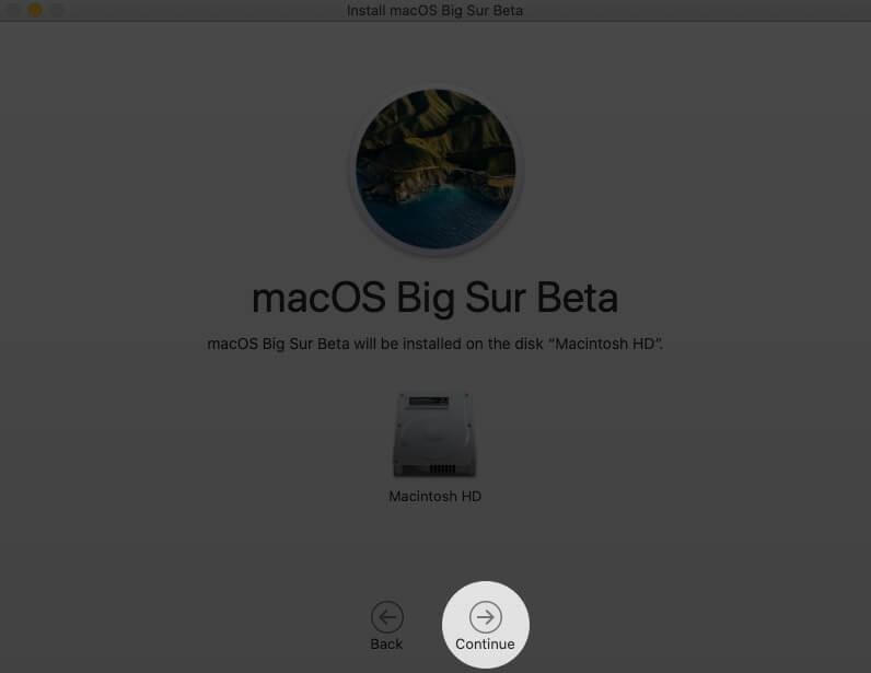 нажмите продолжить на экране доступных дисков на Mac