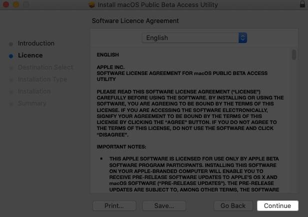 нажмите продолжить в окне лицензионного соглашения на программное обеспечение на Mac