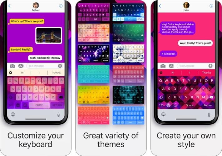 цветная клавиатура iphone и ipad скриншот приложения