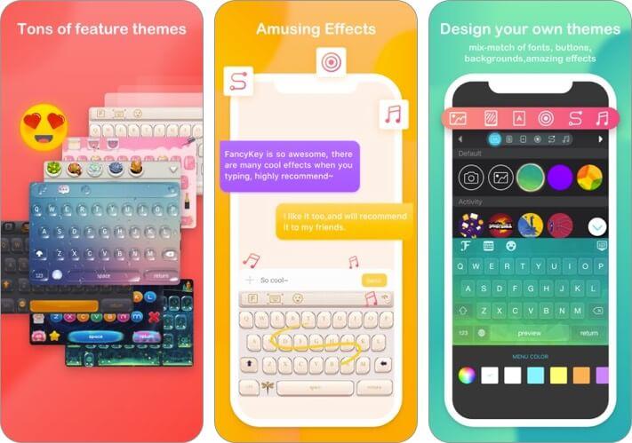 скриншот приложения fancykey для клавиатуры iphone и ipad