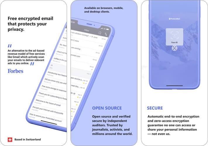 proton mail iphone и ipad скриншот приложения электронной почты