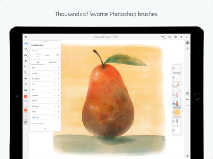 скриншот приложения Adobe Fresco для iPad