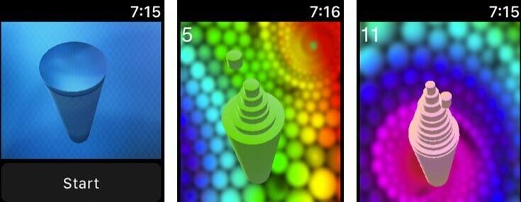 цилиндры яблочные часы скриншот игрового приложения