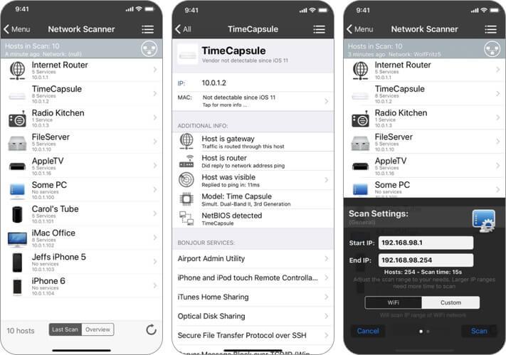 сканер сети inet снимок экрана приложения анализатора Wi-Fi для iphone и ipad