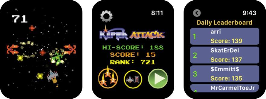 kepler attack скриншот игры apple watch