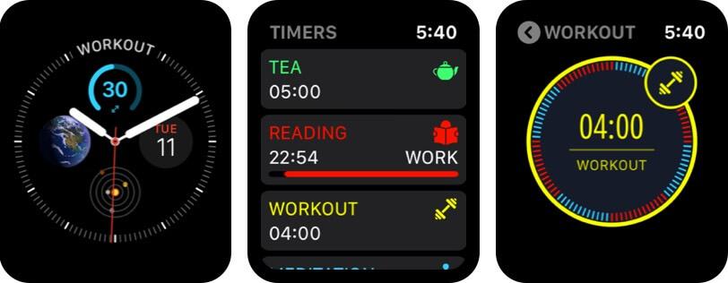 скриншот приложения будильника для мультитаймеров Apple Watch