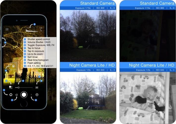 ночная камера: фото при слабом освещении, скриншот приложения для iphone и ipad