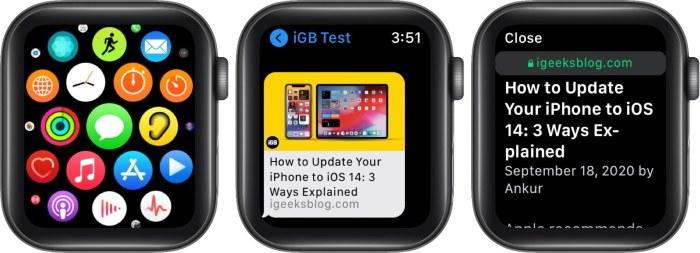 откройте приложение сообщений и нажмите ссылку для поиска в Интернете на Apple Watch