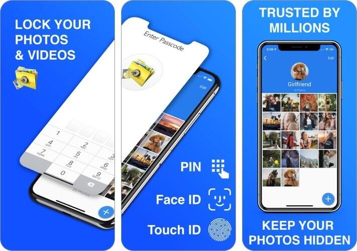 частное хранилище фотографий - скриншот приложения для iphone