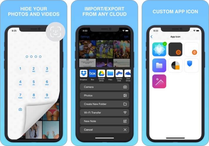 безопасный замок: секретный фотоальбом скриншот приложения хранилища iphone