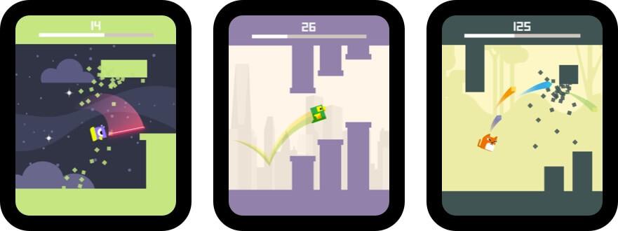 квадратные часы для птиц - скриншот игры с яблочными часами