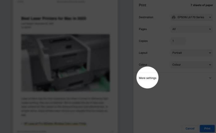 Нажмите «Дополнительные настройки» в окне печати на Mac.