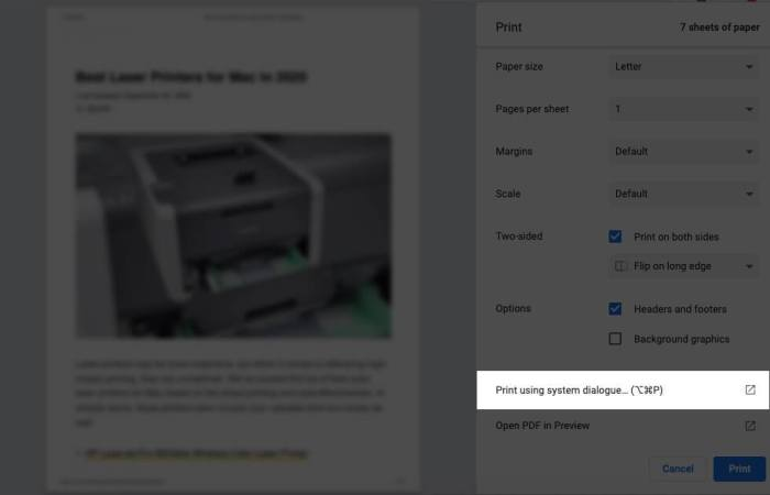Нажмите «Печать с использованием системного диалога» на Mac.