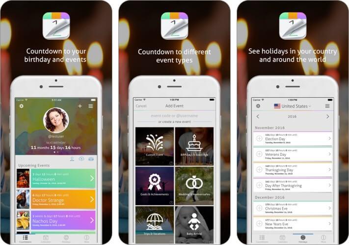 Обратный отсчет + Календарь Скриншот приложения для iPhone и iPad