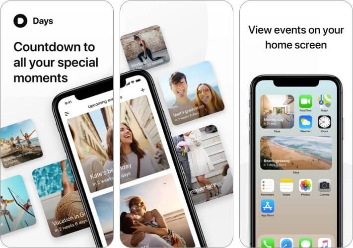 Скриншот приложения для iPhone и iPad обратного отсчета дней