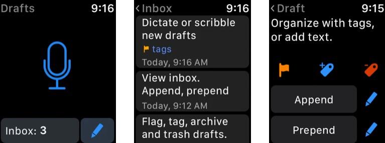 Черновики Скриншот приложения Apple Watch Notes