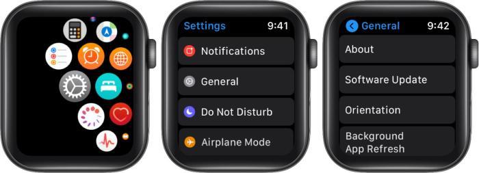 Откройте настройки. Нажмите «Общие», а затем нажмите «Обновить» на Apple Watch.
